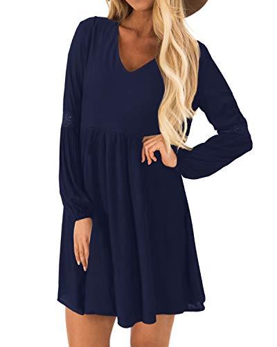YOINS Kleider Damen Sommerkleid für Damen Brautkleid Tshirt Kleid Rundhals Langarm Minikleid Winterkleid Langes Shirt Lose Tunika Baumwolle-dunkelblau EU46