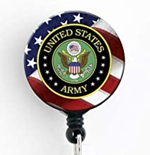 Army Insignia with American Flag - Retractable Badge Reel with Swivel Clip and Extra-Long 34 inch Cord - Badge Holder/Military/Nurse Badge/Teacher