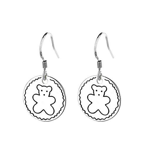 Ms.Swan Pendientes colgantes de plata de ley 925, con forma de oso de peluche, para mujeres, niñas, niños