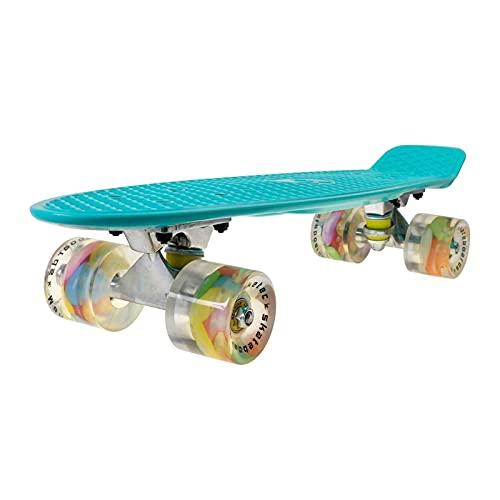Cinta de agarre de la patineta Patinetas, 22 pulgadas (56 * 15 * 10 cm) Pequeño tablero de pescado para niños, tablero de skate Cruiser Maple, incluyendo camiones, impresión de ruedas de PU, patrón tr