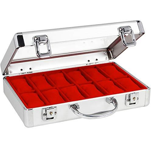 Uhrenkoffer Alu, innen rot, für 18 Uhren