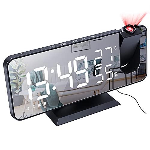 Rehomy Reloj despertador digital con proyector de 180 ° y radio FM, cargador USB LED con pantalla de espejo con función de repetición, regulador automático y pantalla de humedad de temperatura
