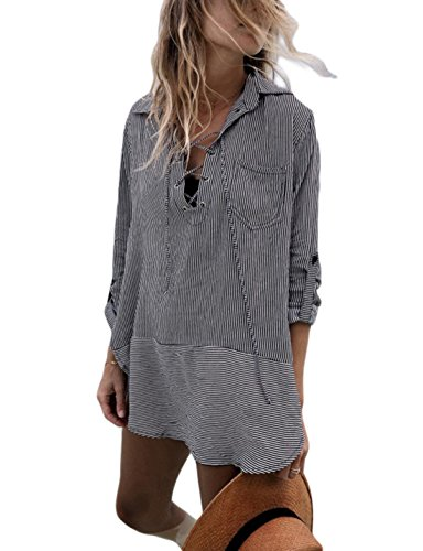Ailunsnika Striped V Neck Beachwear Blouse Cover Up Dress for Women Sexy Long Sleeve Gray Swimsuit Cover Ups with Pockets
