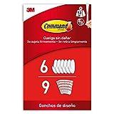 Command Ganchos de Diseño Medianos, Blanco - 6 Ganchos y 9 Tiras Medianas para Interior - Organizar sin Dejar Marcas