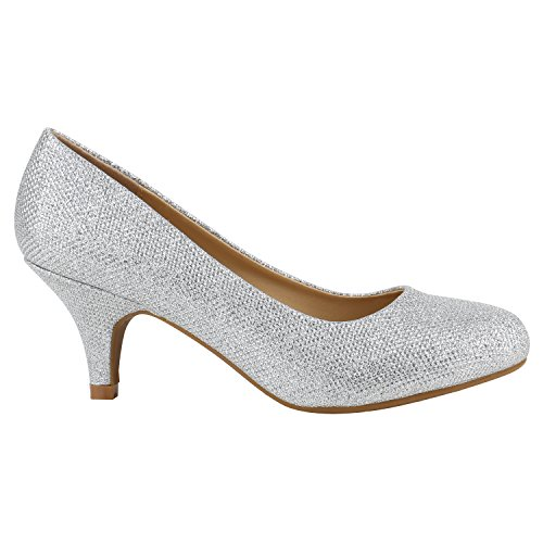 Damen Stiletto Pumps High Heels Glitzer Party Schuhe 142175 Silber Creme Glitzer 36 Flandell