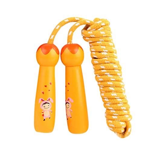 Andouy Verstellbare Springseil für Kinder, Einstellbar Springen Seil mit Cartoon Holzgriff und Baumwollseil, Ideal für Fitness Training/Spiel/Fett Brennen Übung(3M.Orange)