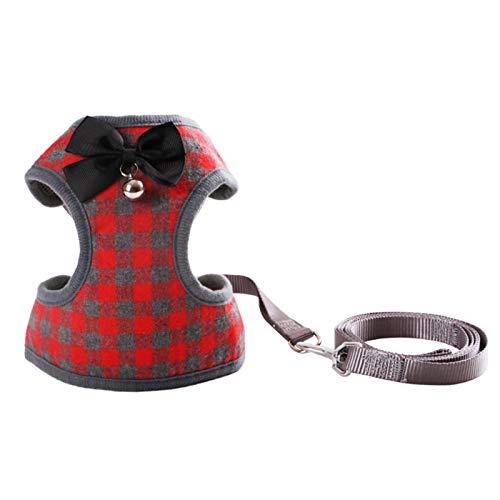 negaor Arnés para perros con pajarita Step-in chaleco arnés de lino set para mascotas gato chaleco perro set de correa para el entrenamiento diario de la running arnés arnés de lino