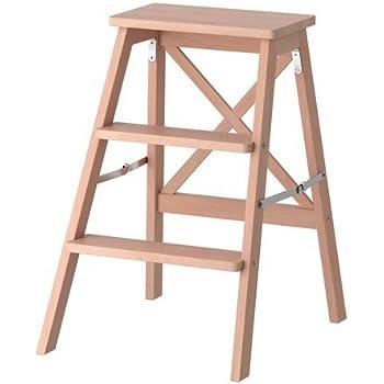 Ikea Trittleiter Bekvam Mit 3 Tritten 63cm Hoch Buche Massivholz Zusammklappbar Inklusive Wandhaken Amazon De Kuche Haushalt