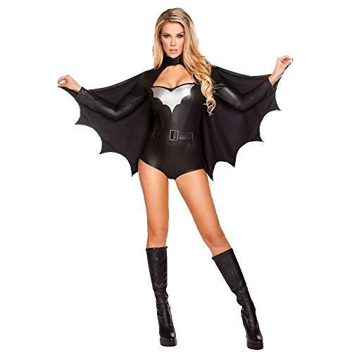 Halloween Traje De Batman Seoras Discoteca Halloween Disfraz Batman Sexy Seoras Fiesta Vestido Adulto Traje Superman Guerrero Traje Cosply Traje Negro Incluyendo Murcilago Manto