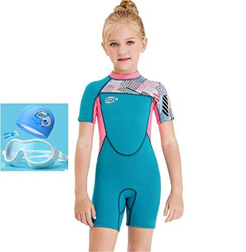 TYPING Traje de baño de neopreno para niñas de 2,5 mm, protector cálido, grueso, protección solar, gafas impermeables y antiniebla, clip para la nariz + gorro de natación, azul, L