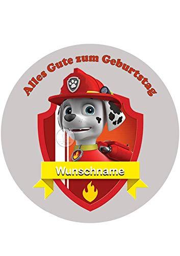 Paw Patrol + Wunschname Tortenaufleger Tortenbild Geburtstag Fondant Ø 20cm / 3829