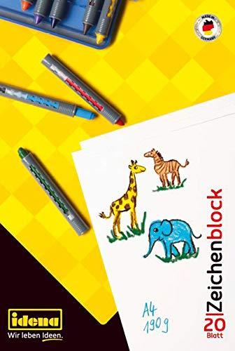 Idena 10381 - Zeichenblock DIN A4, 20 Blatt, 190 g/m², FSC-Mix, 1 Stück
