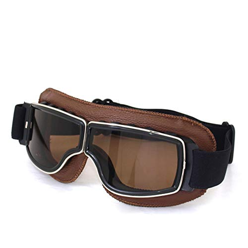 DIDIOI Motorradbrille, Off-Road Riding Glasses Retro Leder Brille Anti-Sand-Personality-Gläser Anti-Fall,1
