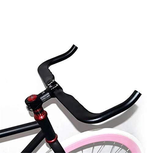 Yamyannie Manillar de Bicicleta Engranaje Fijo Manillar 3.18x42cm aleación de Aluminio de Bicicletas Cuerno de Bent Manillar de Piezas de Bicicletas para Ciclismo (Color : Black, Size : 3.18x42cm)