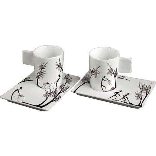 Deagourmet Origini 197 Porzellan-Set inkl. 6Espressotassen und 6Untertassen, handbemaltes Porzellan, Weiß