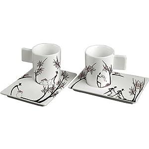 Deagourmet 197Origini-Juego de 6Tazas de café y 6platillos, Porcelana Pintada a Mano, Color Blanco