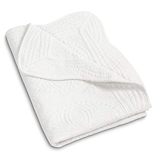 MONOBLANKS Cotton Baby Quilt Personlized Monogram Lightweight Embossed Scalloped Throw Blanket Four Seasons (White)