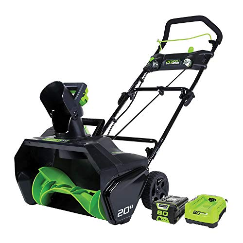 GreenWorks 2600402 Snow Thrower, 2Ah Battery and Charger, Green