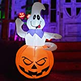 GOOSH 5 FT Height Halloween Inflatables Outdoor Ghost Grow Out from The Pumpkin, Blow Up Yard Decoration Clearance with LED Lights Built-in for Holiday/Party/Yard/Garden