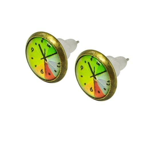 1 par de pendientes hermosos relojes reloj en forma de lelb naranja turquesa pendiente puntero verde, modelo: Modelo 3