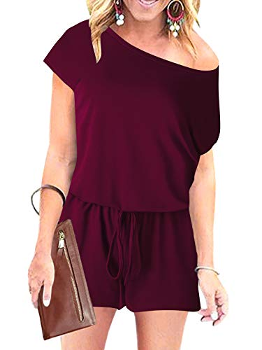 ANRABESS Women Off Shoulder Short Sleeve Elastic Waistband Crew Neck Jumpsuit Rompers with Pockets 204jiuhong-XL WFF03