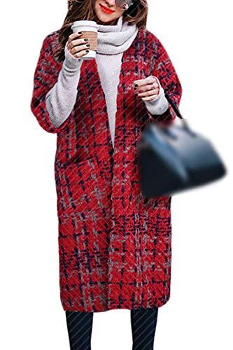 Adelina Cardigan Dames lang elegant vintage geruit gebreide jas herfst winter 3/4 mouwen dikke warme locker vrije tijd gebreide jas Coat grote maten