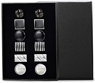Jstyle 6Pairs Classic Cufflinks Set for Men Wedding Bussiness Cufflink Shirts Mens Jewelry with Gift Box