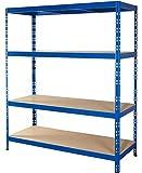 Schwerlastregal | 150 cm breit | CALLIDUS BAUMARKT | blau pulverbeschichtet | 178,5x150x50cm ✓ 4...
