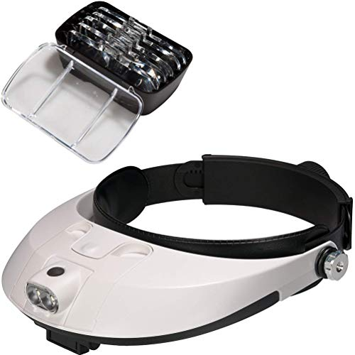 MAGO Lupa Ajustable De Cabeza para Joyería con Luz LED 1.0X 1.5X 2.0X 2.5X 3.5X Gafas Lente Lupa 2 Led Ligero Visera para Reparar Precisión Trabajo Leyendo Reparación