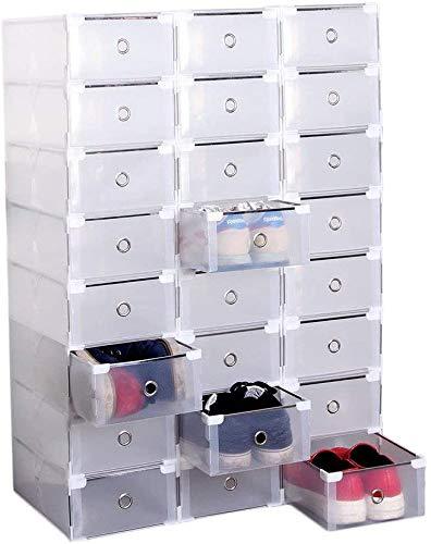 Homgrace 20 Cajas para Zapatos Transparente Plástico, Caja Guardar Zapatos, Calcetines, Juguetes, Cinturones para la organización de su hogar, Oficina