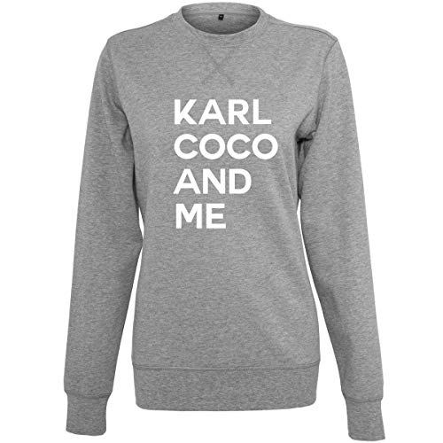 Shirtfun24 Damen Statement Coco Karl and me Rosegold Print Sweater Sweatshirt, Graumeliert, XS