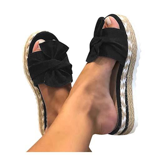 Damen Sandalen Casual Dasongff Sommer Wedge Peep Toe High Heel Plattform Pantoletten Lässige Flache Schuhe Bogen Römersandalen Elegant Espadrilles Flip Flop Slide Strandsandalen