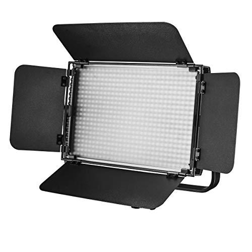Walimex pro Niova 600 Plus Daylight – LED Videoleuchte Dauerlicht Flächenleuchte, 36 Watt, 600 LED, dimmbar, 5600K, 4.350 Lumen, CRI ≥ 97 Ra, DMX + Fernbedienung, 2X NP-F Akku Slots + Netzteil