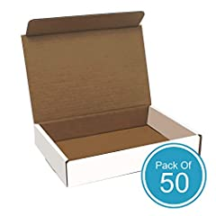"""Shipping Made Simple - White Corrugated Boxes (50 Pack). These white mailing boxes are 11""""x 8. 75"""" x 2"""" and perfect for shipping small gifts and fragile items. Quality, Crush Proof Corrugated Cardboard – Mailing boxes are manufactured with corrugated..."""