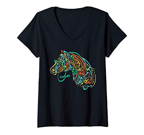 Mujer Arte de caligrafía árabe - Caballo árabe caligráfico Camiseta Cuello V