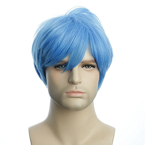 Karlery Men's Handsome Blue Short Fluffy Straight Unisex Baby Hair Helloween Costume Wig Anime Cosplay Party Wig