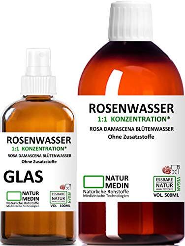 ROSENWASSER 500 + 100-ml SPRAY GLAS Gesichtswasser, 100{b6f6bc01dbe529514dcc9401b2c0ac3c1736c710f216748a393011e0147092ca} naturrein, 1:1 Konzentration, Rosa damascena Blüttenwasser, ohne Zusatzstoffe, Reisegröße Spray Glasflasche + PET Braunflasche, nachhaltig