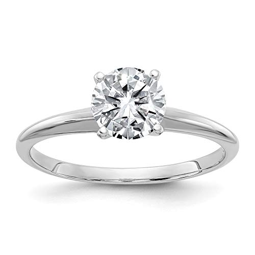 14k White Gold 3.00ct. 9.5mm Round Moissanite Solitaire Band Ring Size 7.00 Engagement Gsh Gshx Fine Jewellery For Women Gifts For Her