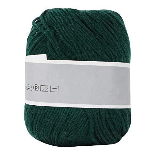 Desconocido Hilo de algodón, Hilo de Tejer Suave y Suave bebé de Leche Línea de Tejido Manual de algodón Leche Gruesa DIY Tejido a Mano Lana Artesanal Bufanda Hilo(Verde Oscuro)