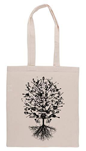 Luxogo Musical Instrumentos Árbol Bolsa De Compras Groceries Beige Shopping Bag