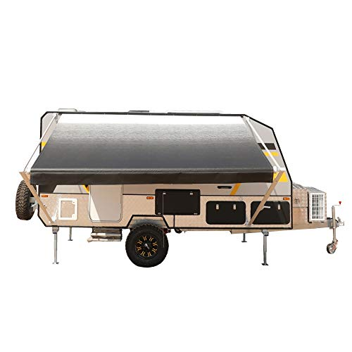 ALEKO Manual Retractable RV Trailer Awning for Home or Camper- 10x8 Ft - Black Fade