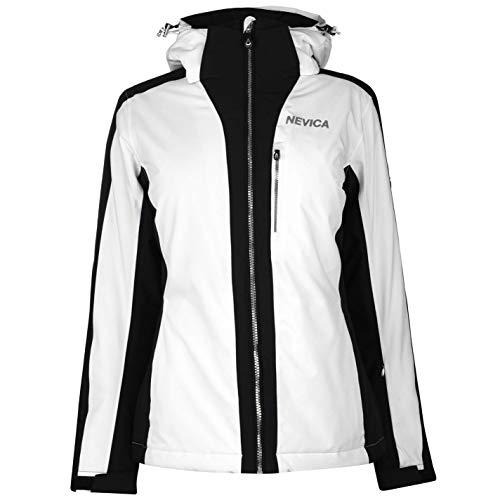 Nevica Damen Meribel Ski Jacke Skijacke Kapuze Taschen Weiß/Schwarz L