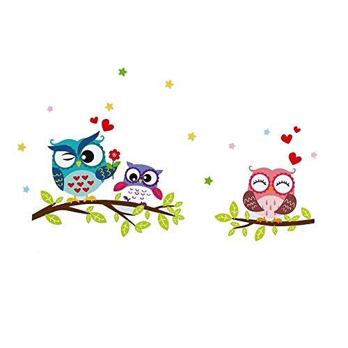 keyu Tapete Aufkleber Glückliche entfernbare wasserdichte Karikatur-Tiereule-Wand-Aufkleber für Kinder Home Decor Tapeten für Wohnzimmer