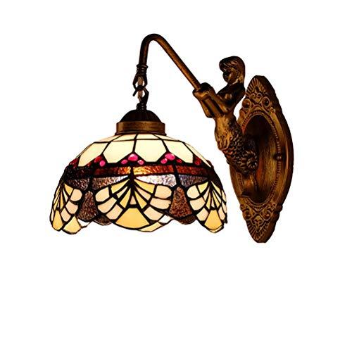 AWCVB Retro Creative Dormitorio Nightwand Light Tiffany Estilo Cuarto De Baño Lámpara De Pared De Espejo para Hallur, Decoración De Baño
