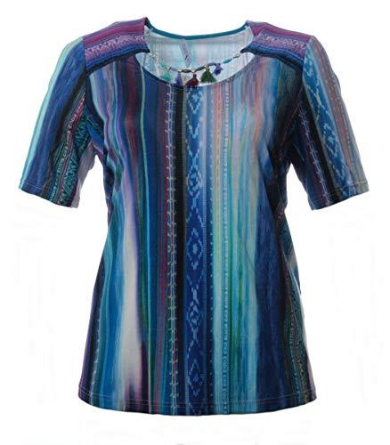 Chalou Damen Kurzarm-Shirt mit Quasten-Kette in Türkis Sommer-Mode große Größen elegant, Größe:56
