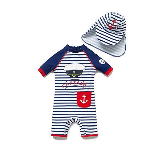 BONVERANO Baby Junge EIN stück Kurzärmel-Kleidung UV-Schutz 50+ Badeanzug MIT Einem Reißverschluss(Blau-JunHüte,18-24M)