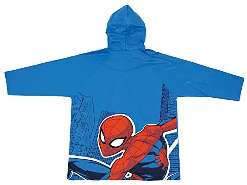 REQUETEGUAY Chubasquero Spiderman para Niños - Impermeable Spiderman Tipo Chaqueta con Capucha y botones (Talla 6   6-7 años)