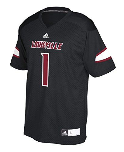 adidas Louisville Cardinals 1 Black Replica Polyester Football Jersey (Large)