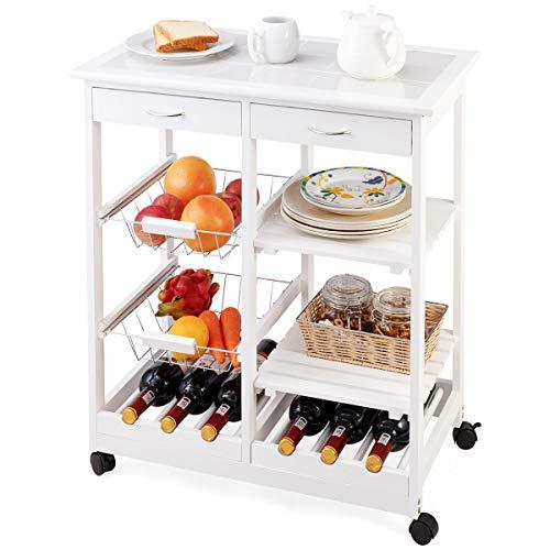 DREAMADE Carrello da Cucina con 2 Portabottiglie Carrello da Cucina in Legno con 2 Cassetti 67x37x76cm (Bianco)