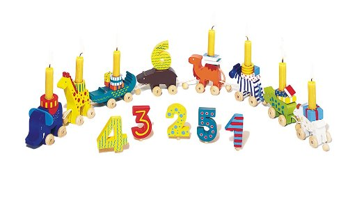 Holzzwerge Verjaardagskarawane met 10 kaarsen en cijfers van 1-10